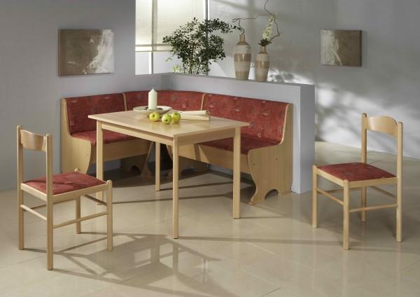 Truhen-Eckbankgruppe, Buche Natur Dekor; Eckbank, 2 Stühle und Vierfußtisch; Bezug: Mikrofaser rot; variabel aufbaubar